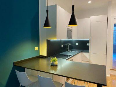 cocina moderna azul sanjhes
